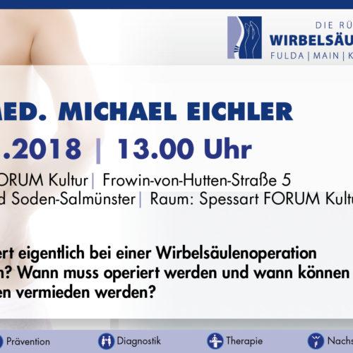 Ankündigung Vortrag Dr. med. M. Eichler im Rahmen der 11. Gesundheitstage in Bad Soden-Salmünster